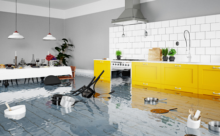 flooding kitchen interior. 3d rendering concept Archivio Fotografico