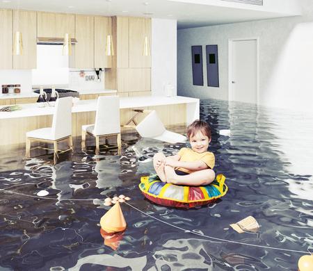 Junge im überfluteten Raum. Medienelemente gemischt