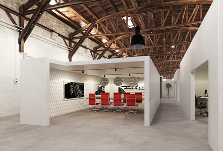 modern conference meeting room design. 3d rendering concept Banco de Imagens
