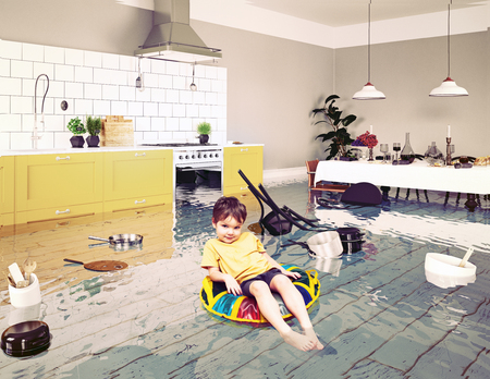 boy in the flooded room. Media elements mixed Stockfoto - 114224819