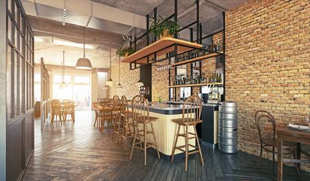 modernes Restaurant-Innendesign. 3D-Rendering-Konzept