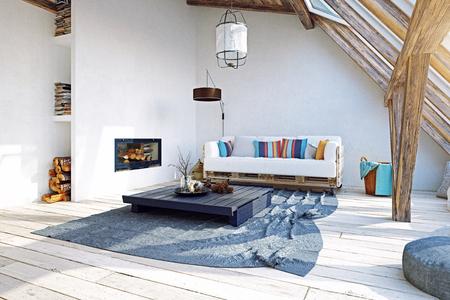 Modern attic interior design. 3d rendering concept Stock Photo