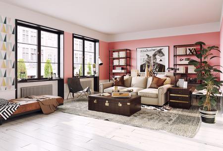 Modern living room interior. Living coral design style. 3d rendering