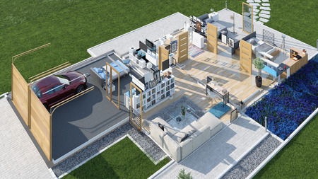 Modern house without walls. 3d rendering concept Stok Fotoğraf