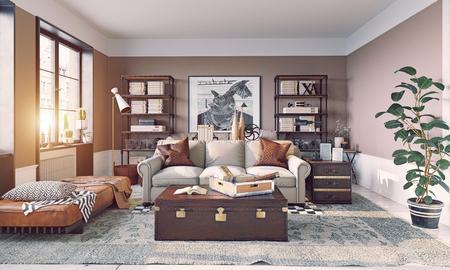 Modern living room interior. Living design style. 3d rendering