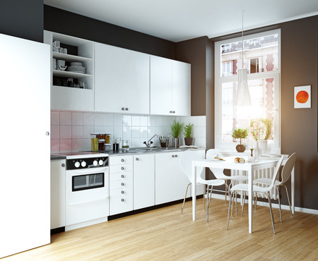 Modern cozy kitchen interior. 3d rendering design concept Stock Photo