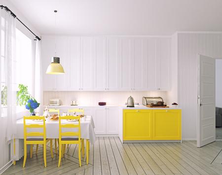 Modern cozy kitchen interior. 3d rendering design concept Stock Photo