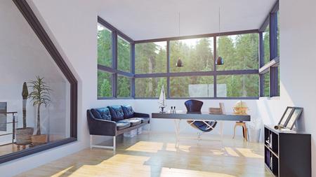 Modern home office interior. 3d design rendering.