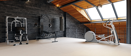 Home gym room in the attic. 3d rendering design concept Foto de archivo