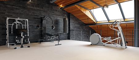 Salle de gym à domicile dans le grenier. concept de conception de rendu 3D