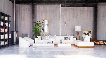 Modern loft living room interior. 3d rendering design concept Standard-Bild - 118173503