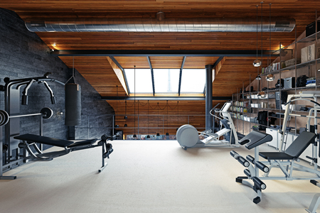 Home gym room in the attic. 3d rendering design concept Standard-Bild - 118173501