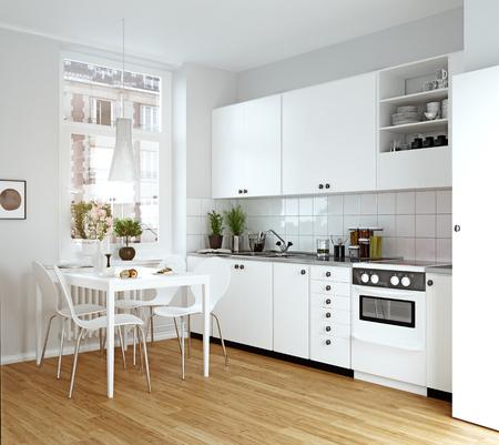 Modern cozy kitchen interior. 3d rendering design concept Standard-Bild - 118173506