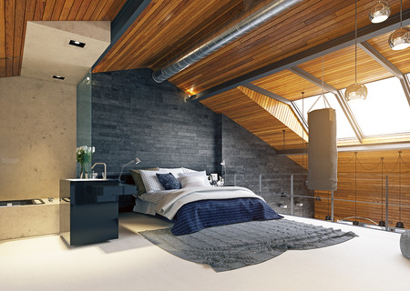 Modern  loft bedroom interior. 3d rendering design Standard-Bild - 118190884