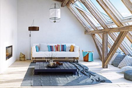 Modern attic interior design. 3d rendering concept Archivio Fotografico