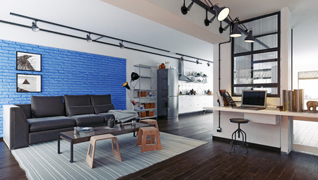 Modern loft studio interior. 3d rendering design concept Standard-Bild - 118190890