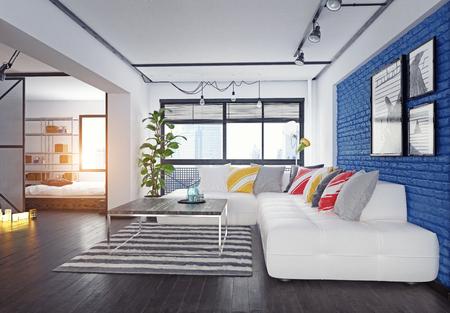 Modern loft interior. 3d rendering design concept Reklamní fotografie