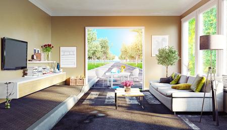 The asphalt road cross the living room. 3d rendering creative concept Standard-Bild - 118190893