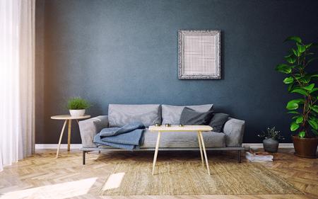 Modern living room interior design. 3d rendering concept Standard-Bild - 118190894