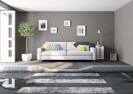 The asphalt road cross the living room. 3d rendering creative concept Standard-Bild - 118190897