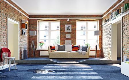 The asphalt road cross the living room. 3d rendering creative concept Standard-Bild - 118191370