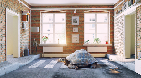 The asphalt road cross the living room and giant turtle. 3d rendering creative concept Standard-Bild - 118191375