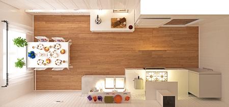 Kitchen top view. 3d rendering concept 版權商用圖片 - 118191377