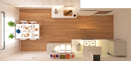 Kitchen top view. 3d rendering concept