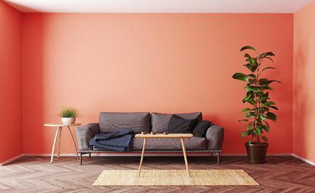 Modern  living room interior design. 3d rendering living coral concept