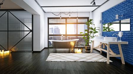 Modern loft bathroom design. 3d rendering concept Standard-Bild - 118191384
