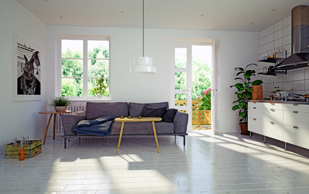Modern living room. Scandinavian interior design. 3d rendering concept Standard-Bild - 118191380