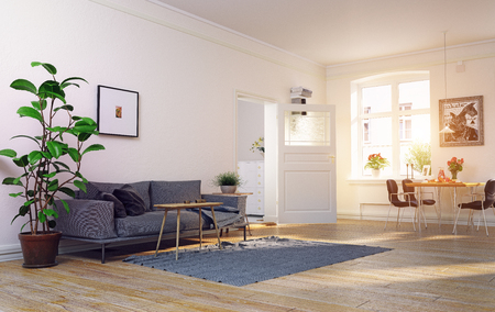 Modern scandinavian living room design. 3d concept illustration Standard-Bild - 118191383