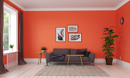 Modern living room. living coral interior design. 3d rendering concept Standard-Bild - 118191382