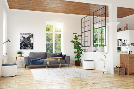 Modern Scandinavian living room design. 3d concept illustration Stock Photo
