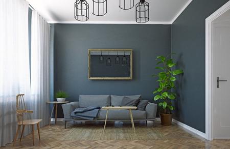 Modern living room. Scandinavian interior design. 3d rendering concept Standard-Bild - 118191477