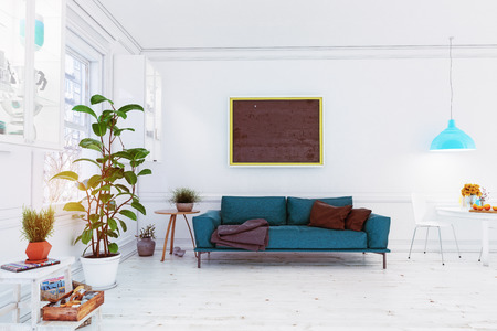 Modern scandinavian living room design. 3d concept illustration Imagens