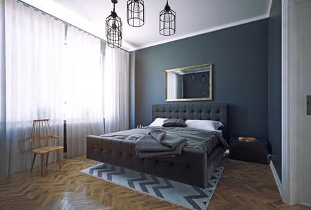 Modern dark style bedroom interior design. 3d rendering room concept 写真素材