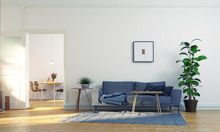 Modern scandinavian living room design. 3d concept illustration Stock Photo