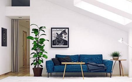 Modern  living room. Scandinavian interior design. 3d rendering concept Standard-Bild - 118191484