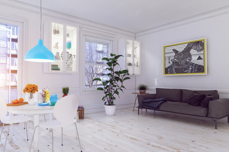 Modern  scandinavian living room design. 3d concept illustration