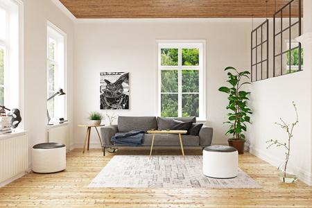 Modern scandinavian living room design. 3d concept rendering Standard-Bild - 118191486