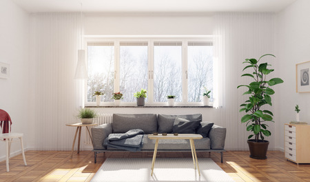 Modern living room. Scandinavian interior design. 3d rendering concept 写真素材