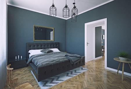 Modern dark style bedroom interior design. 3d rendering room concept Standard-Bild - 118191491