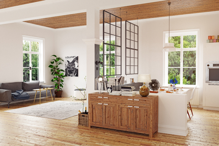 Modern scandinavian living room design. 3d concept illustration Standard-Bild - 118191492
