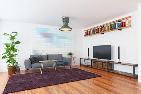 Modern Scandinavian style interior design. Standard-Bild - 118854795