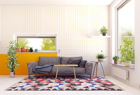 Modern Scandinavian style living room interior design. Standard-Bild - 118854797