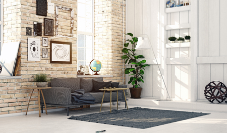 Modern Scandinavian style living room interior design. Standard-Bild - 118854796
