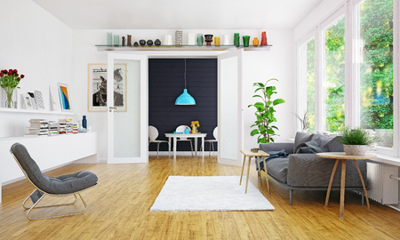 Modern Scandinavian style living room interior design. Standard-Bild - 118854799