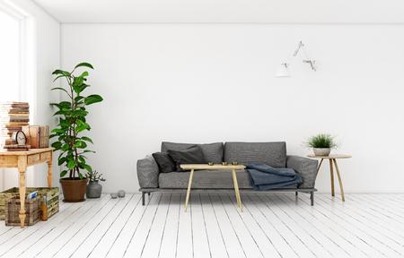 Modern Scandinavian style living room interior design. Standard-Bild - 118854884