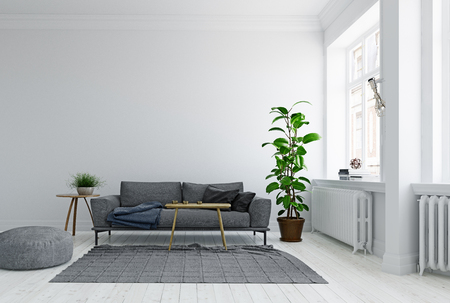 Modern Scandinavian style living room interior design. Standard-Bild - 118854885
